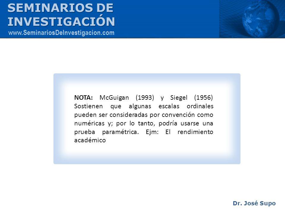 NOTA: McGuigan (1993) y Siegel (1956) Sostienen que algunas escalas ordinales pueden ser consideradas por convención como numéricas y; por lo tanto, p