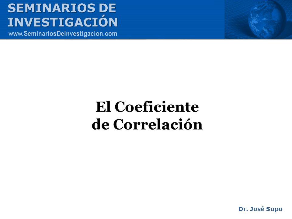 El Coeficiente de Correlación Dr. José Supo SEMINARIOS DE INVESTIGACIÓN www.SeminariosDeInvestigacion.com