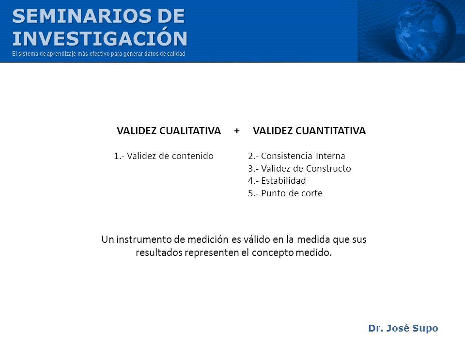 Dr. José Supo Un instrumento de medición es válido en la medida que sus resultados representen el concepto medido. VALIDEZ CUALITATIVA + VALIDEZ CUANT