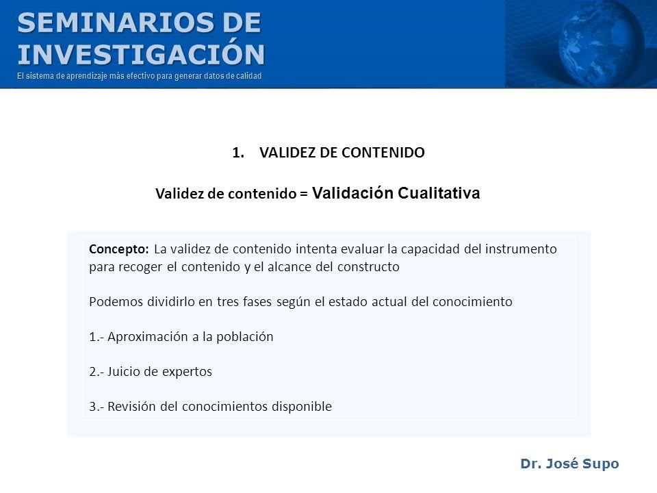 Dr. José Supo Concepto: La validez de contenido intenta evaluar la capacidad del instrumento para recoger el contenido y el alcance del constructo Pod