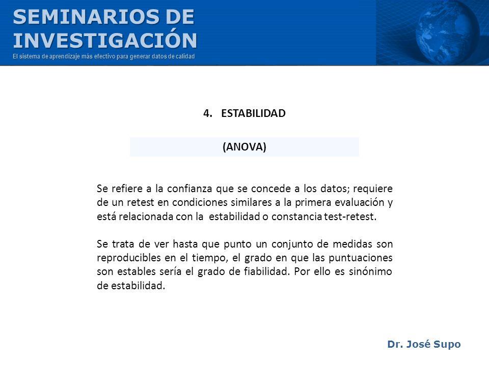 Dr. José Supo Se refiere a la confianza que se concede a los datos; requiere de un retest en condiciones similares a la primera evaluación y está rela