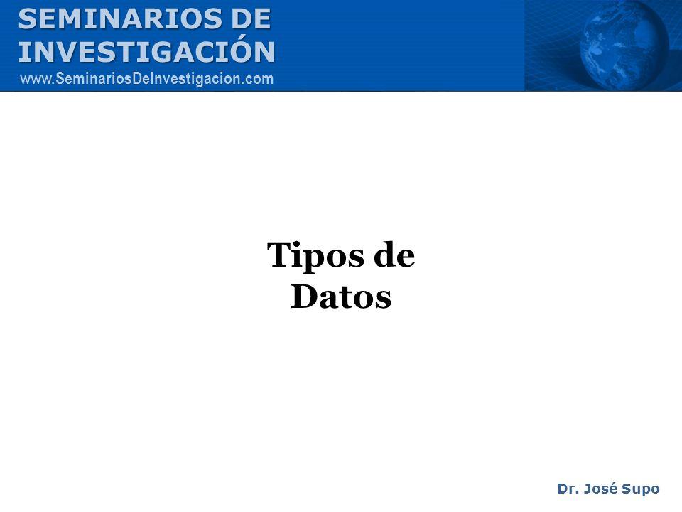 Tipos de Datos Dr. José Supo SEMINARIOS DE INVESTIGACIÓN www.SeminariosDeInvestigacion.com