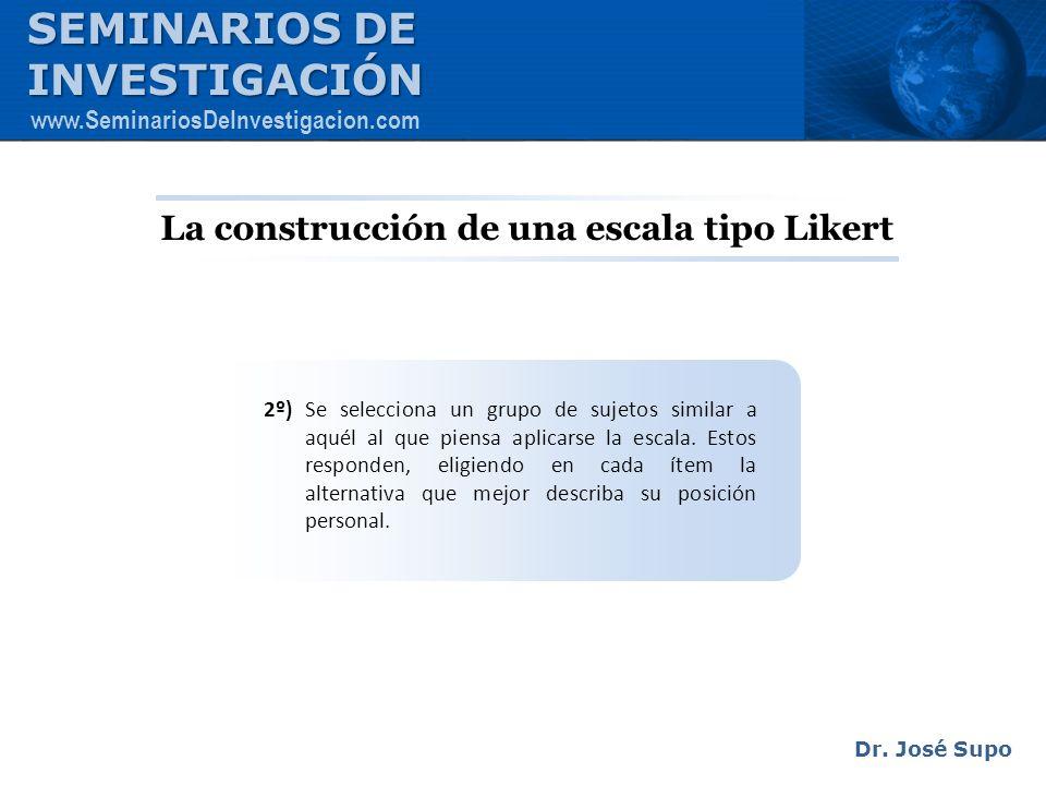 La construcción de una escala tipo Likert 2º) Se selecciona un grupo de sujetos similar a aquél al que piensa aplicarse la escala. Estos responden, el