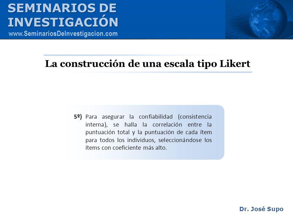 La construcción de una escala tipo Likert 5º) Para asegurar la confiabilidad (consistencia interna), se halla la correlación entre la puntuación total