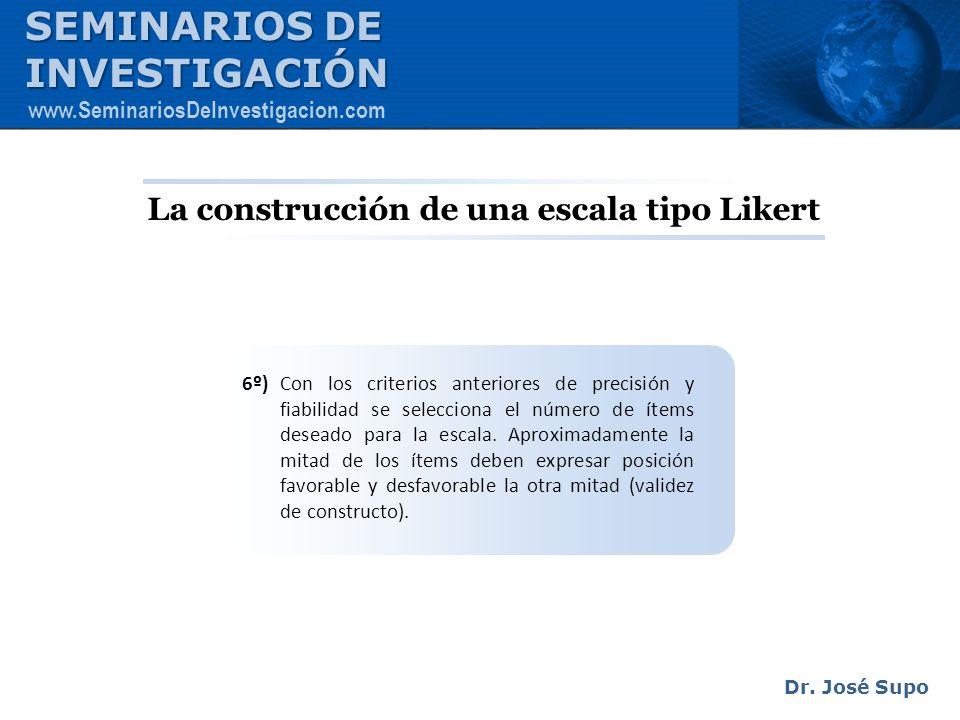 La construcción de una escala tipo Likert 6º) Con los criterios anteriores de precisión y fiabilidad se selecciona el número de ítems deseado para la
