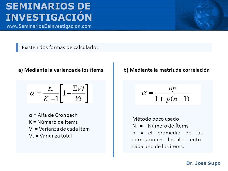 Existen dos formas de calcularlo: a) Mediante la varianza de los ítemsb) Mediante la matriz de correlación α = Alfa de Cronbach K = Número de Ítems Vi