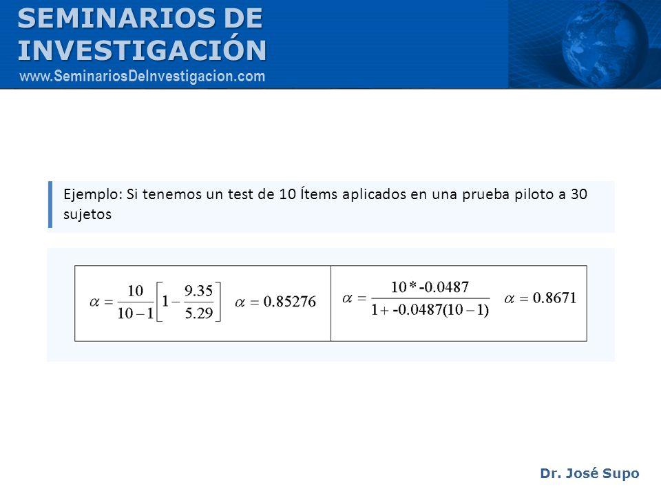 Ejemplo: Si tenemos un test de 10 Ítems aplicados en una prueba piloto a 30 sujetos Dr. José Supo SEMINARIOS DE INVESTIGACIÓN www.SeminariosDeInvestig
