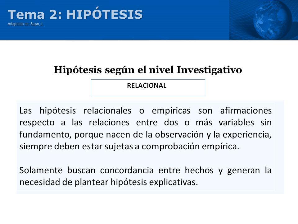 RELACIONAL Hipótesis según el nivel Investigativo Las hipótesis relacionales o empíricas son afirmaciones respecto a las relaciones entre dos o más va