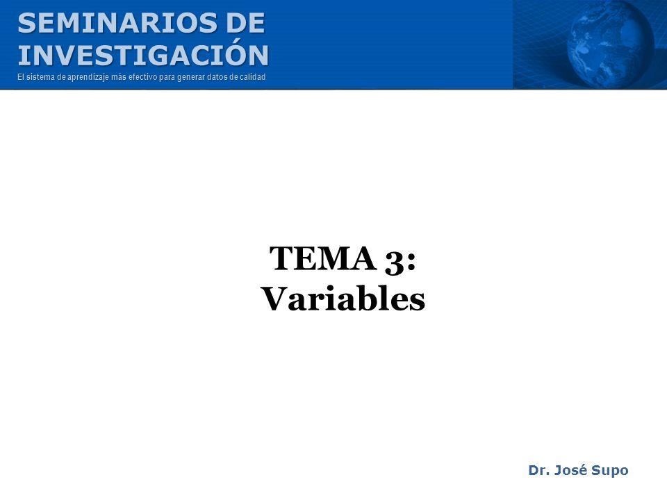 TEMA 3: Variables Dr. José Supo SEMINARIOS DE INVESTIGACIÓN El sistema de aprendizaje más efectivo para generar datos de calidad