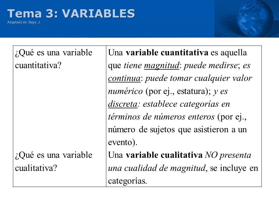 Tema 3: VARIABLES Adaptado de: Supo, J. ¿Qué es una variable cuantitativa? ¿Qué es una variable cualitativa? Una variable cuantitativa es aquella que