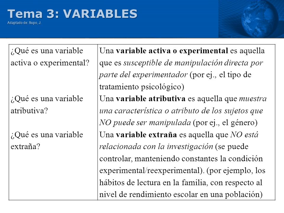 Tema 3: VARIABLES Adaptado de: Supo, J. ¿Qué es una variable activa o experimental? ¿Qué es una variable atributiva? ¿Qué es una variable extraña? Una
