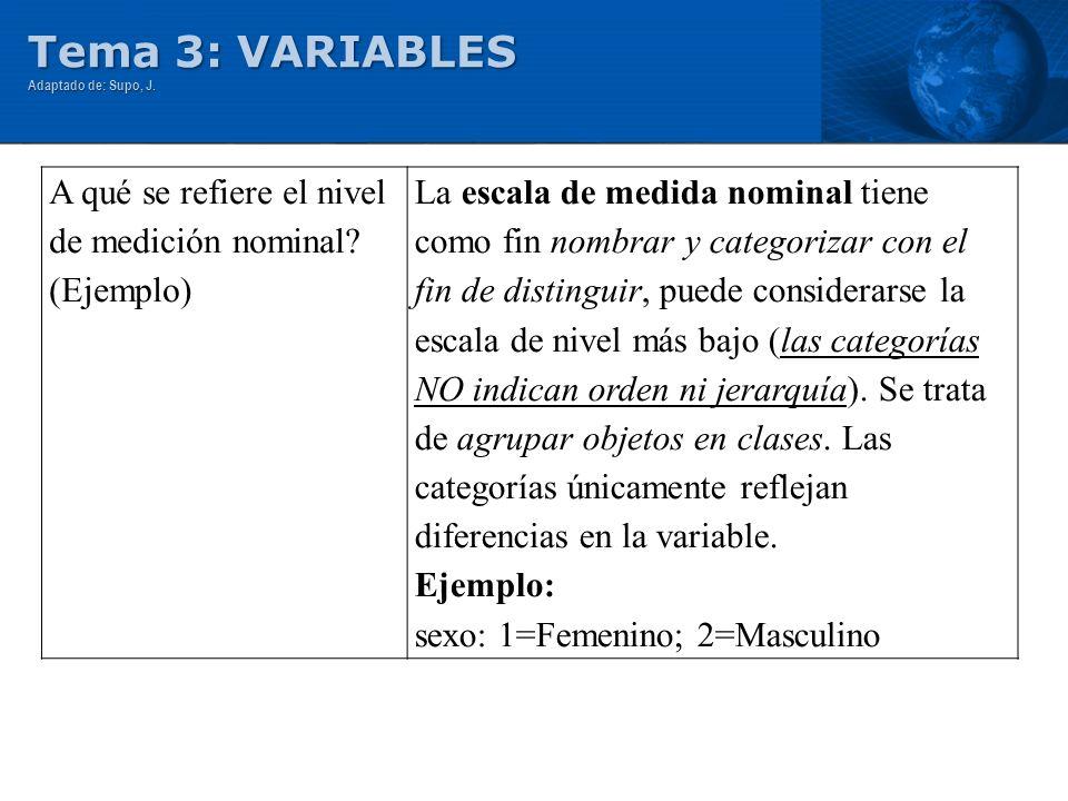 Tema 3: VARIABLES Adaptado de: Supo, J. A qué se refiere el nivel de medición nominal? (Ejemplo) La escala de medida nominal tiene como fin nombrar y
