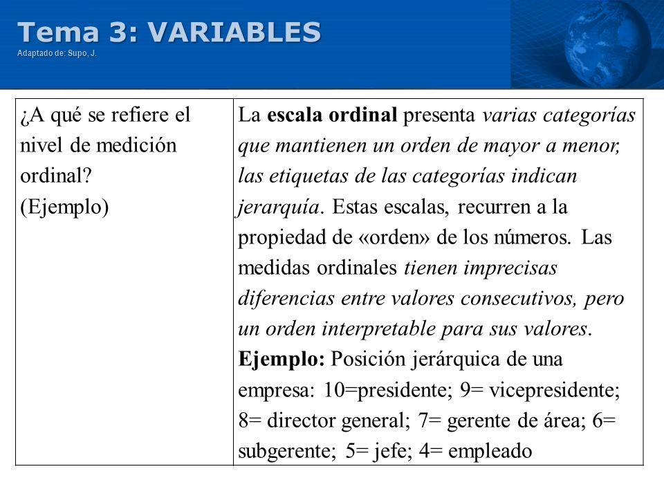Tema 3: VARIABLES Adaptado de: Supo, J. ¿A qué se refiere el nivel de medición ordinal? (Ejemplo) La escala ordinal presenta varias categorías que man