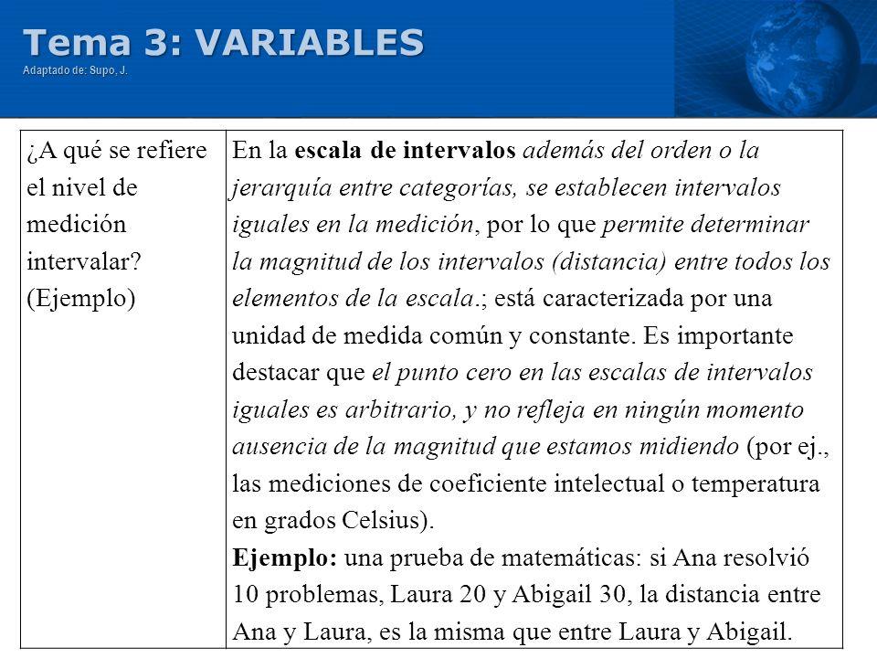 Tema 3: VARIABLES Adaptado de: Supo, J. ¿A qué se refiere el nivel de medición intervalar? (Ejemplo) En la escala de intervalos además del orden o la