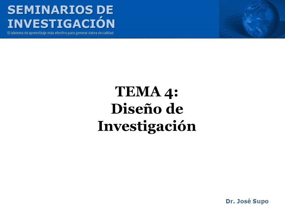 TEMA 4: Diseño de Investigación Dr. José Supo SEMINARIOS DE INVESTIGACIÓN El sistema de aprendizaje más efectivo para generar datos de calidad