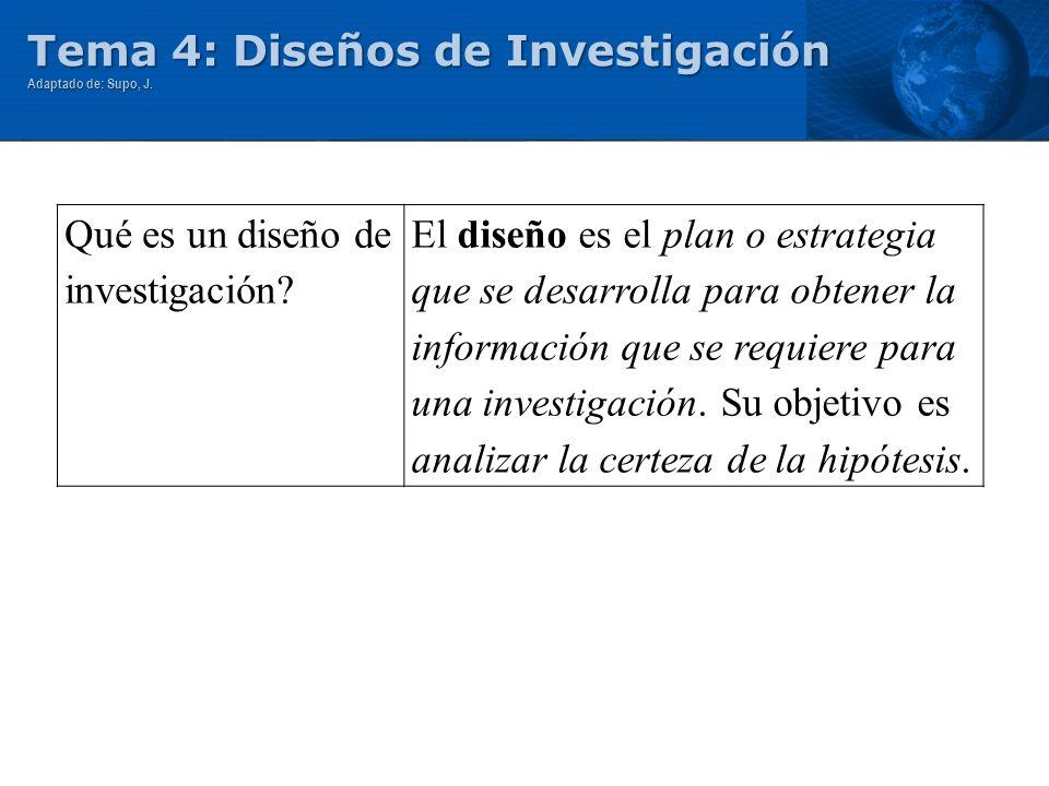 Tema 4: Diseños de Investigación Adaptado de: Supo, J. Qué es un diseño de investigación? El diseño es el plan o estrategia que se desarrolla para obt