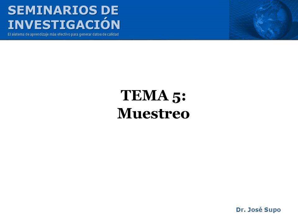 TEMA 5: Muestreo Dr. José Supo SEMINARIOS DE INVESTIGACIÓN El sistema de aprendizaje más efectivo para generar datos de calidad
