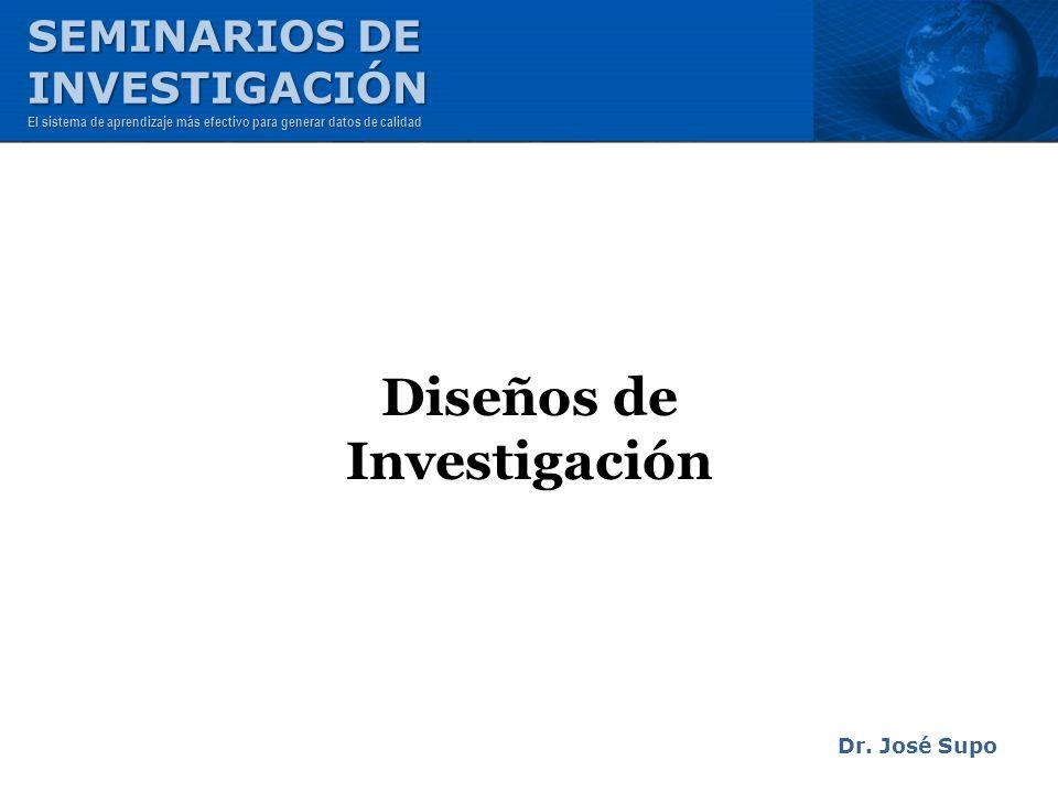 Diseños de Investigación Dr. José Supo SEMINARIOS DE INVESTIGACIÓN El sistema de aprendizaje más efectivo para generar datos de calidad
