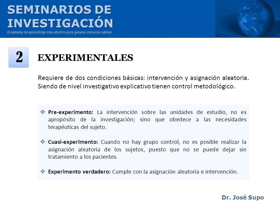 EXPERIMENTALES Pre-experimento: La intervención sobre las unidades de estudio, no es apropósito de la investigación; sino que obedece a las necesidade