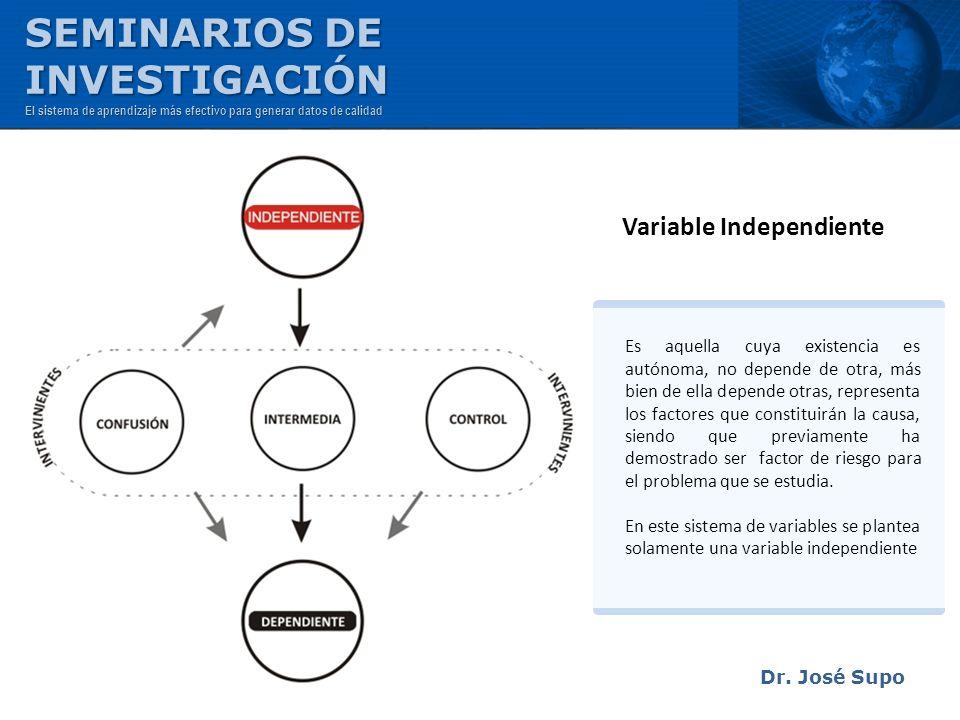 Dr. José Supo Variable Independiente Es aquella cuya existencia es autónoma, no depende de otra, más bien de ella depende otras, representa los factor