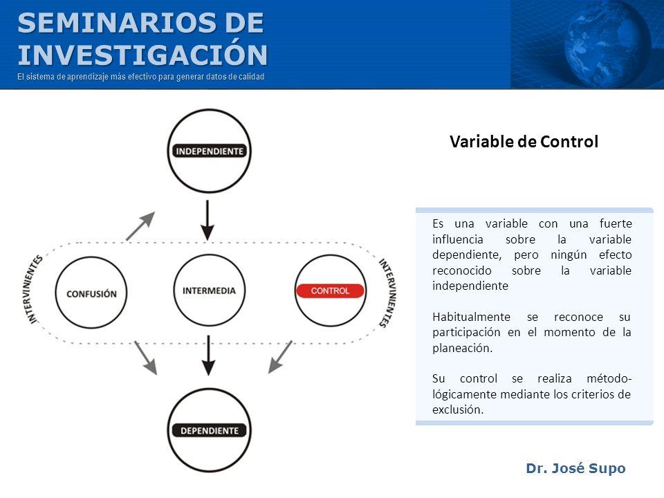 Dr. José Supo Variable de Control Es una variable con una fuerte influencia sobre la variable dependiente, pero ningún efecto reconocido sobre la vari