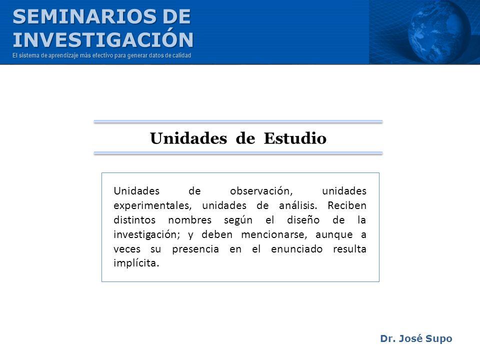 Dr. José Supo Unidades de observación, unidades experimentales, unidades de análisis. Reciben distintos nombres según el diseño de la investigación; y