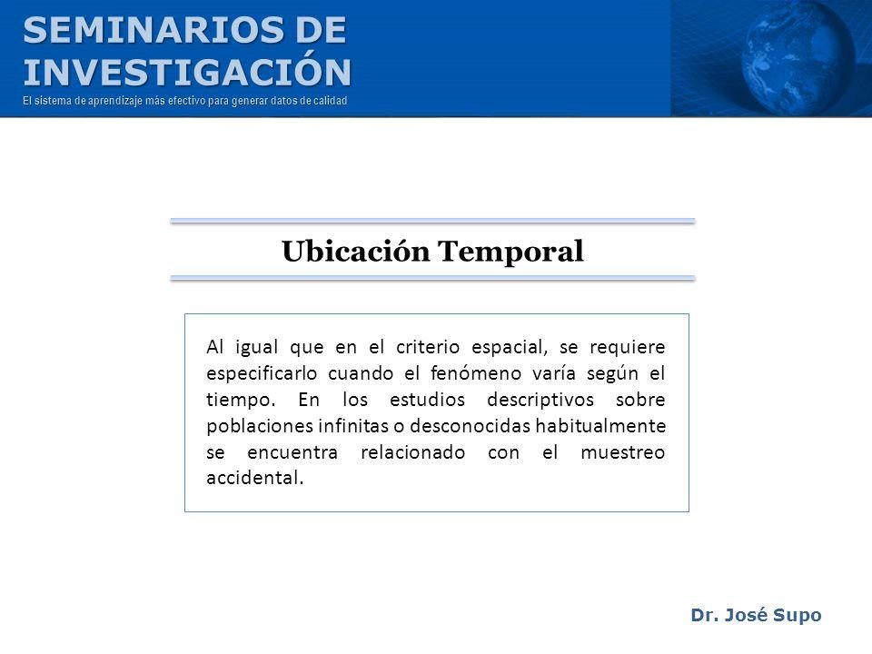 Dr. José Supo Al igual que en el criterio espacial, se requiere especificarlo cuando el fenómeno varía según el tiempo. En los estudios descriptivos s