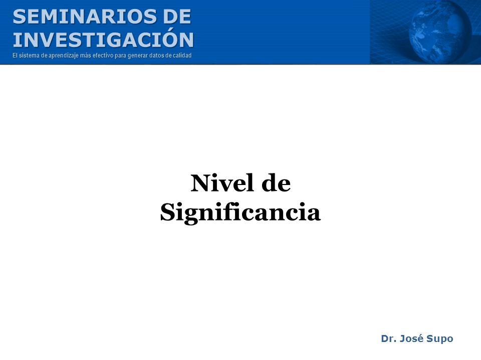 Nivel de Significancia Dr. José Supo SEMINARIOS DE INVESTIGACIÓN El sistema de aprendizaje más efectivo para generar datos de calidad
