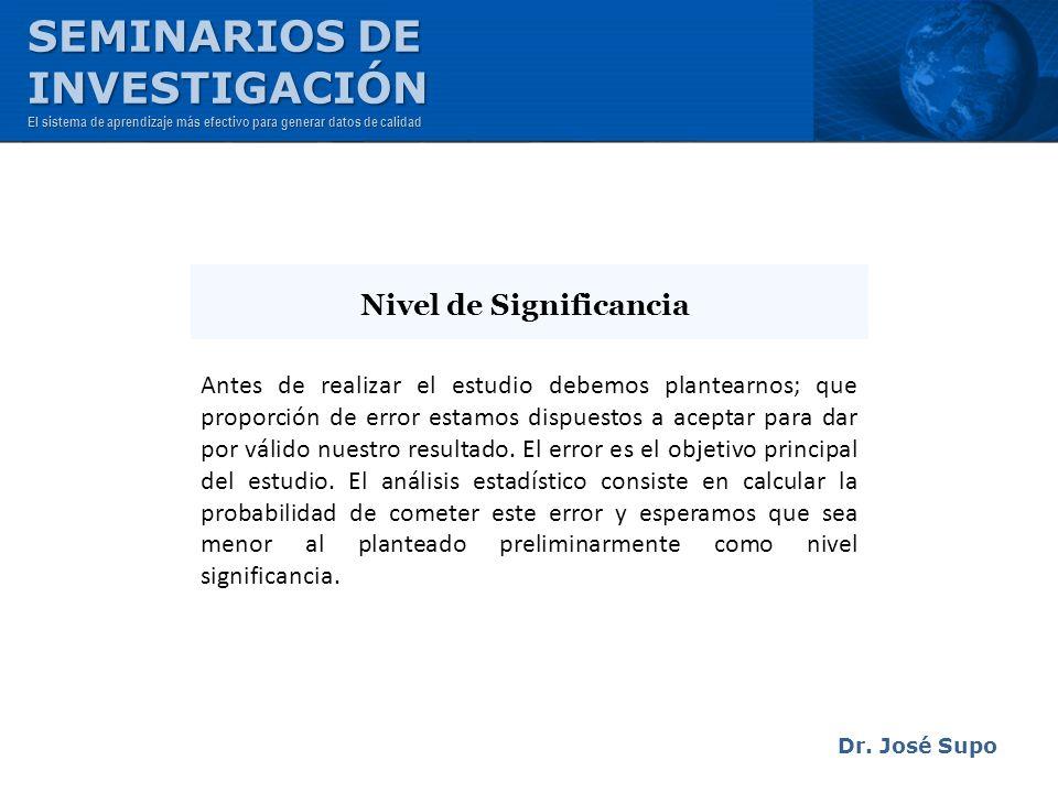 Dr. José Supo Antes de realizar el estudio debemos plantearnos; que proporción de error estamos dispuestos a aceptar para dar por válido nuestro resul
