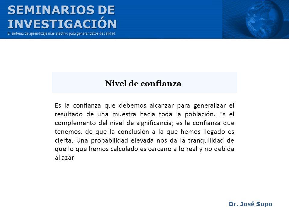 Dr. José Supo Es la confianza que debemos alcanzar para generalizar el resultado de una muestra hacia toda la población. Es el complemento del nivel d