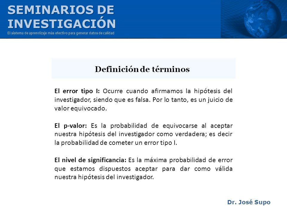 Dr. José Supo El error tipo I: Ocurre cuando afirmamos la hipótesis del investigador, siendo que es falsa. Por lo tanto, es un juicio de valor equivoc