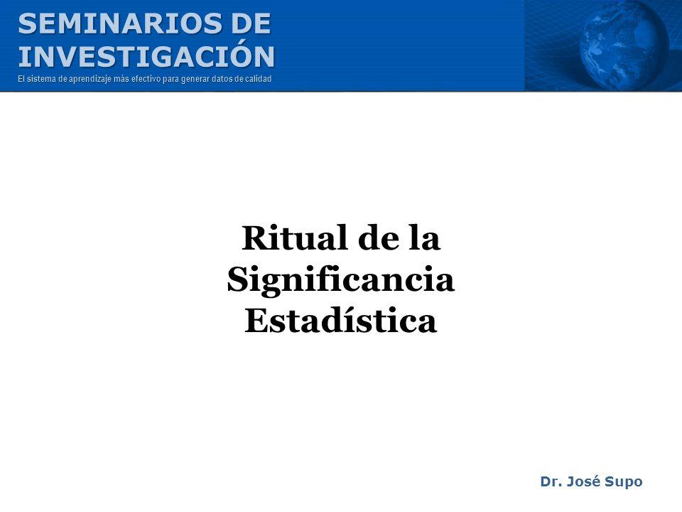 Ritual de la Significancia Estadística Dr. José Supo SEMINARIOS DE INVESTIGACIÓN El sistema de aprendizaje más efectivo para generar datos de calidad