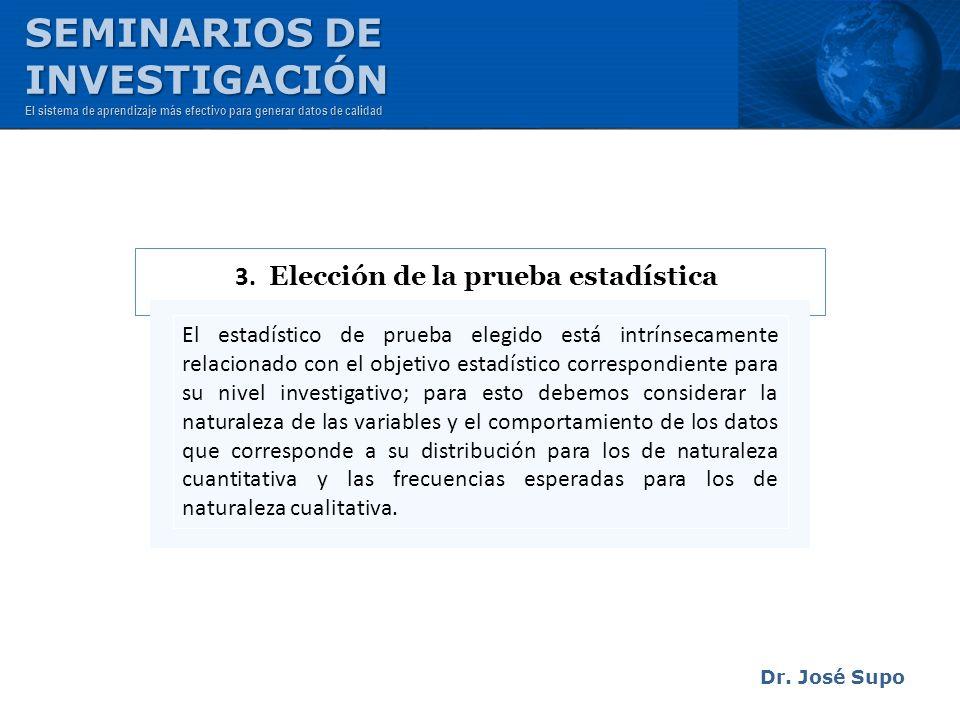 Dr. José Supo El estadístico de prueba elegido está intrínsecamente relacionado con el objetivo estadístico correspondiente para su nivel investigativ