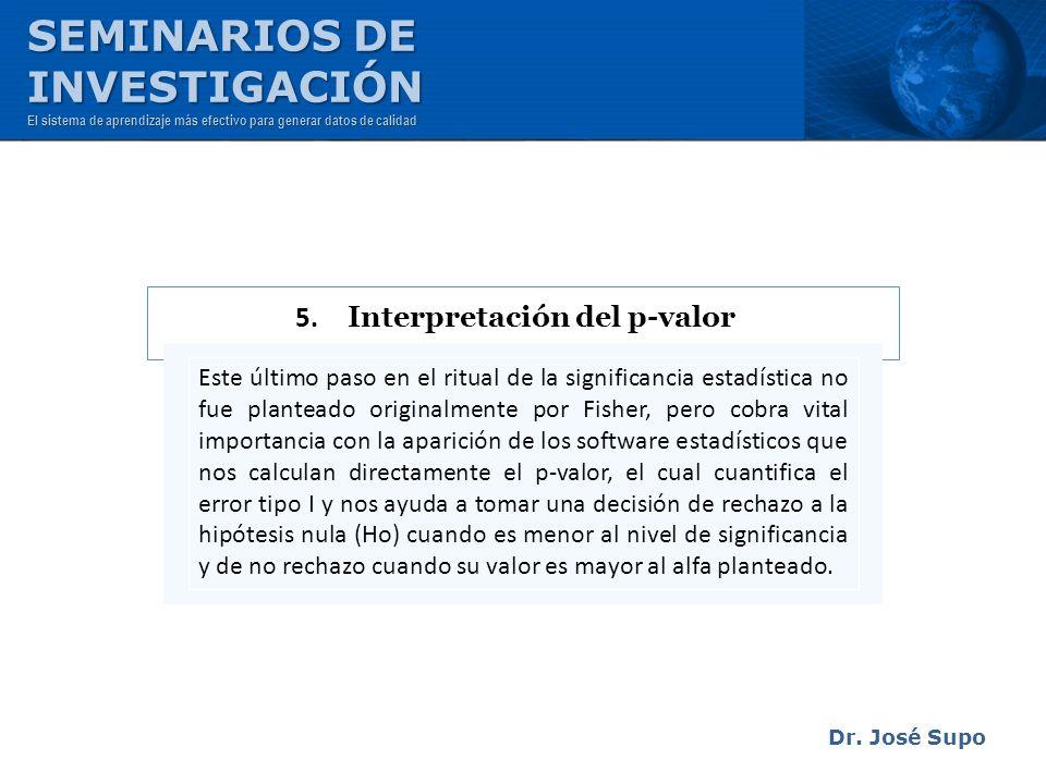 Dr. José Supo Este último paso en el ritual de la significancia estadística no fue planteado originalmente por Fisher, pero cobra vital importancia co