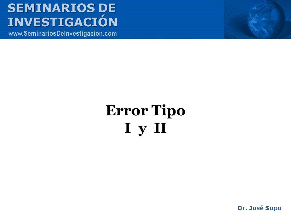 Error Tipo I y II Dr. José Supo SEMINARIOS DE INVESTIGACIÓN www.SeminariosDeInvestigacion.com