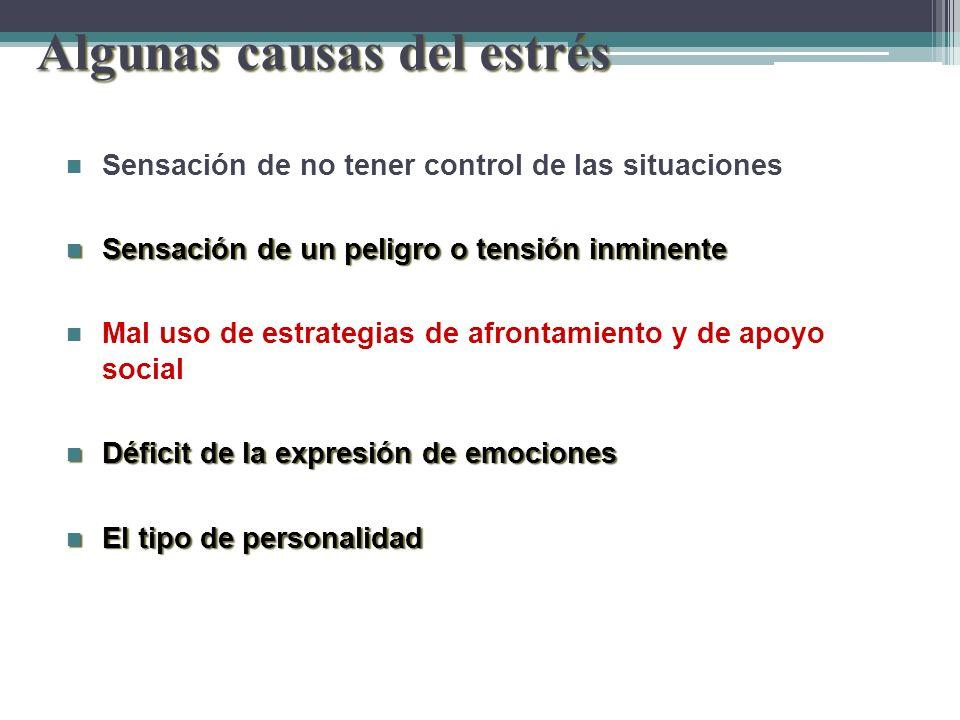 Algunas causas del estrés Sensación de no tener control de las situaciones Sensación de no tener control de las situaciones Sensación de un peligro o
