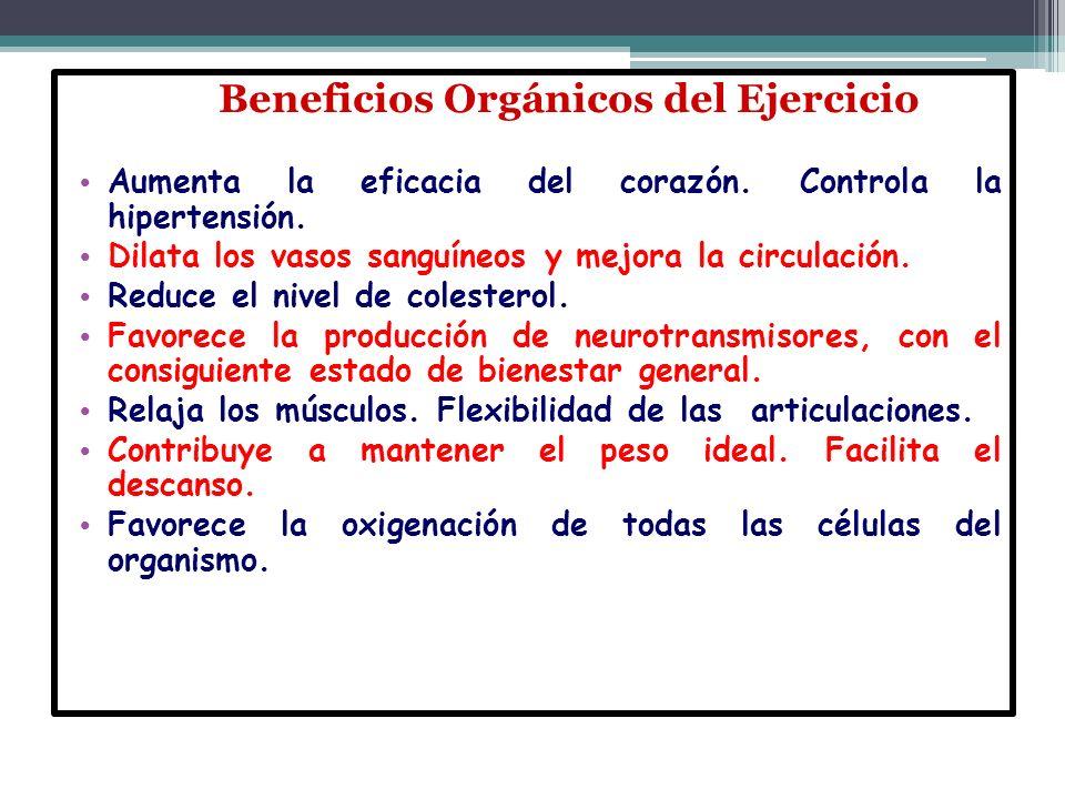 Beneficios Orgánicos del Ejercicio Beneficios Orgánicos del Ejercicio Aumenta la eficacia del corazón. Controla la hipertensión. Aumenta la eficacia d