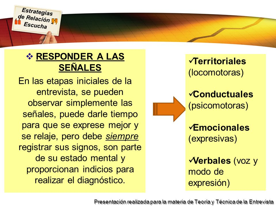 Estrategias de Relación y Escucha Presentación realizada para la materia de Teoría y Técnica de la Entrevista RESPONDER A LAS SEÑALES En las etapas in