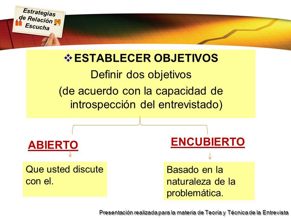 Estrategias de Relación y Escucha Presentación realizada para la materia de Teoría y Técnica de la Entrevista ESTABLECER OBJETIVOS Definir dos objetiv