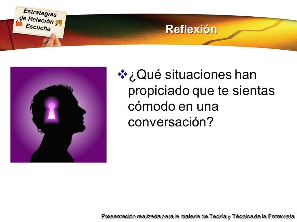 Estrategias de Relación y Escucha Presentación realizada para la materia de Teoría y Técnica de la Entrevista Reflexión ¿Qué situaciones han propiciad