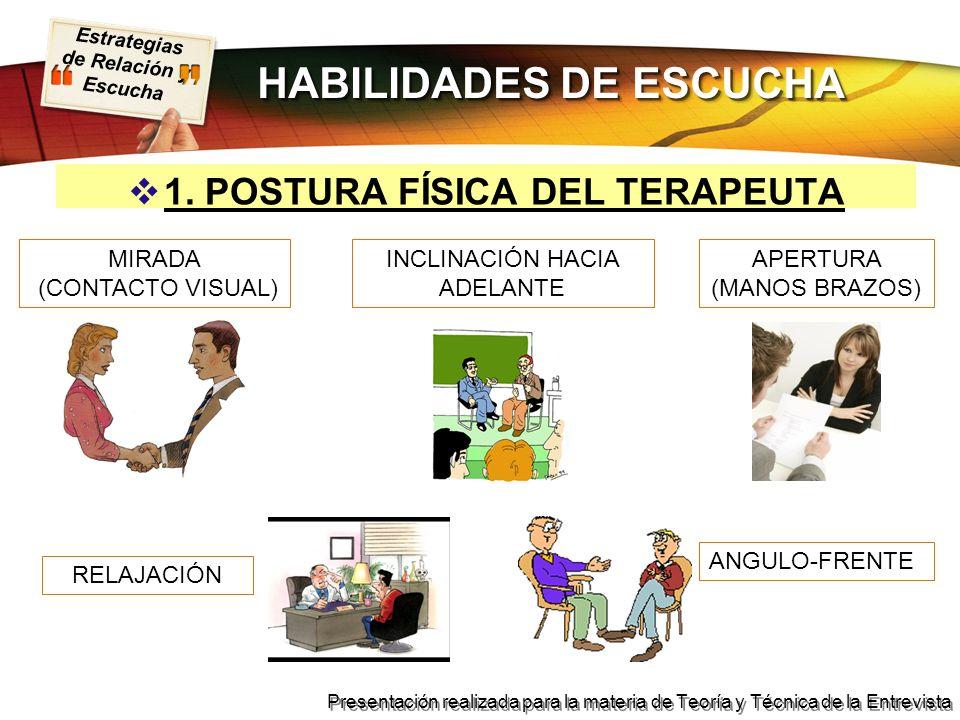 Estrategias de Relación y Escucha Presentación realizada para la materia de Teoría y Técnica de la Entrevista 1. POSTURA FÍSICA DEL TERAPEUTA ANGULO-F