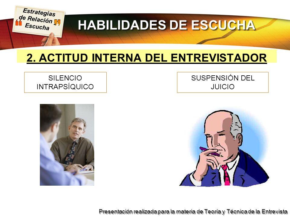 Estrategias de Relación y Escucha Presentación realizada para la materia de Teoría y Técnica de la Entrevista 2. ACTITUD INTERNA DEL ENTREVISTADOR SUS