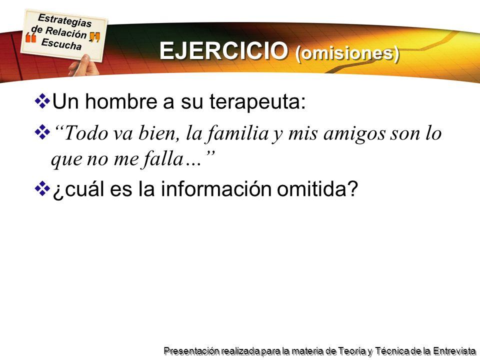 Estrategias de Relación y Escucha Presentación realizada para la materia de Teoría y Técnica de la Entrevista EJERCICIO (omisiones) Un hombre a su ter