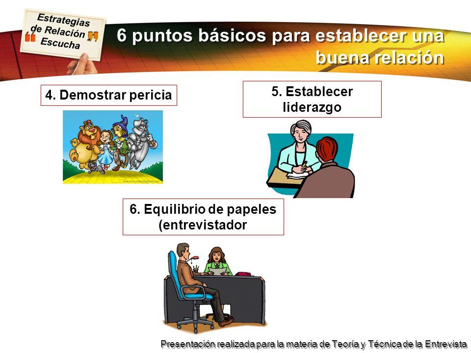 Estrategias de Relación y Escucha Presentación realizada para la materia de Teoría y Técnica de la Entrevista 6 puntos básicos para establecer una bue