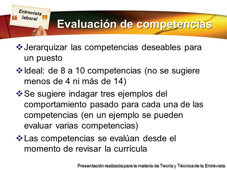Entrevista laboral Presentación realizada para la materia de Teoría y Técnica de la Entrevista Evaluación de competencias Jerarquizar las competencias