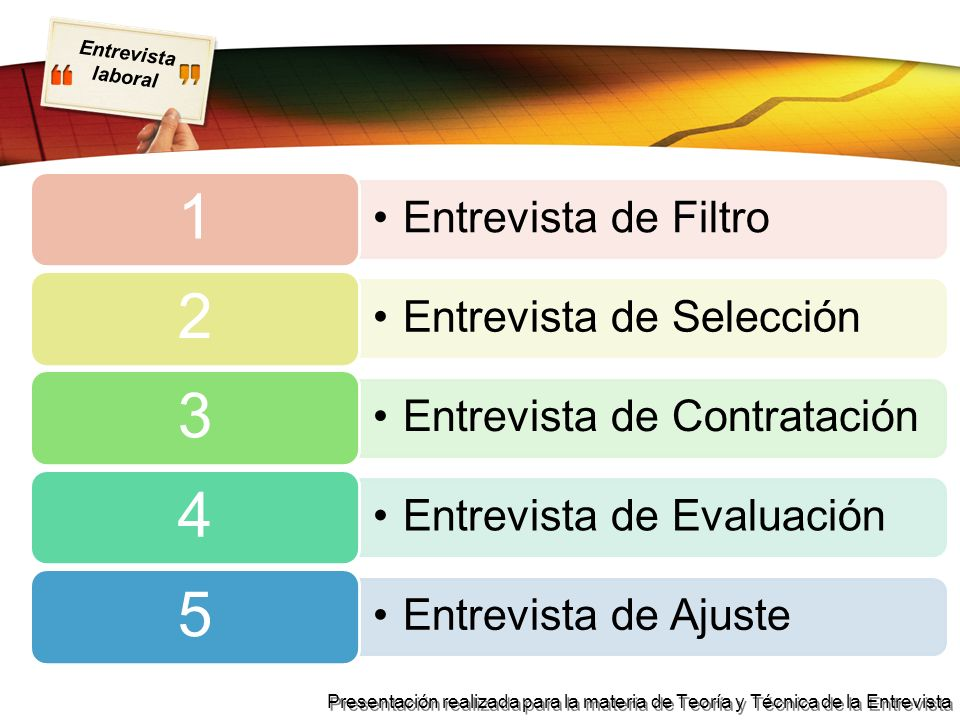 Entrevista laboral Presentación realizada para la materia de Teoría y Técnica de la Entrevista 1) Entrevista de Filtro Es aquella que te hace el responsable del área de recursos humanos de la empresa.