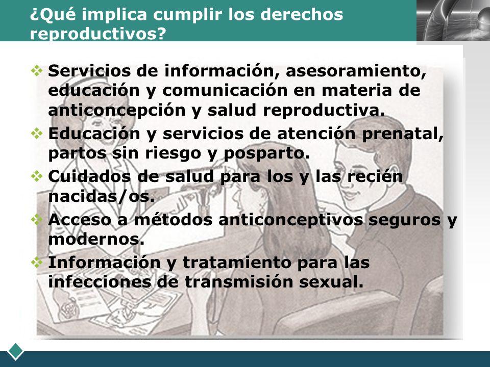 LOGO ¿Qué implica cumplir los derechos reproductivos? Servicios de información, asesoramiento, educación y comunicación en materia de anticoncepción y