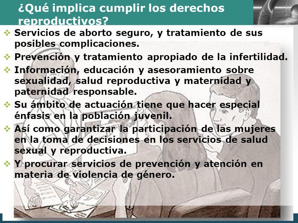 LOGO ¿Qué implica cumplir los derechos reproductivos? Servicios de aborto seguro, y tratamiento de sus posibles complicaciones. Prevención y tratamien