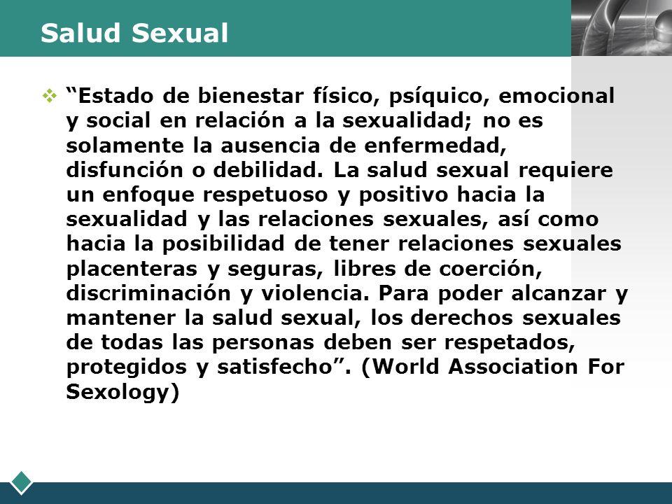 LOGO Salud Sexual Estado de bienestar físico, psíquico, emocional y social en relación a la sexualidad; no es solamente la ausencia de enfermedad, dis