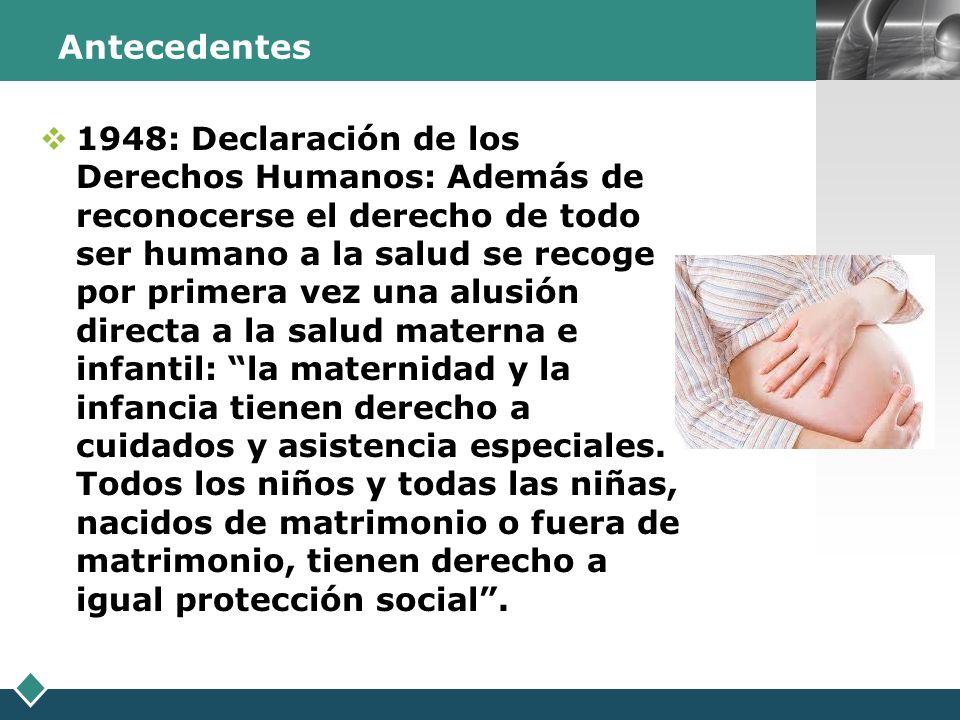 LOGO Antecedentes 1948: Declaración de los Derechos Humanos: Además de reconocerse el derecho de todo ser humano a la salud se recoge por primera vez